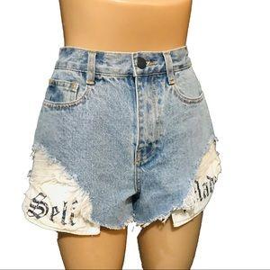 Dzzit blue distressed high waisted jean shorts M